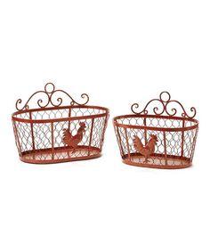 Look at this #zulilyfind! Red Chicken Basket Set #zulilyfinds