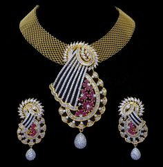 Indian Bridal CZ AD Gold & Silver Colored Bollywood Pendant Set Swam Jewelry 167 #Unbranded