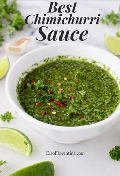 Best Chimichurri Sauce Recipe Video bull CiaoFlorentina: The absolute best Argentinian chimichurri sauce recipe with VIDEO. A perfect marriage between garlic, parsley, oregano, cilantro and lime. Mexican Food Recipes, Vegan Recipes, Cooking Recipes, Ethnic Recipes, Chutneys, Argentinian Chimichurri, Chimichurri Sauce Recipe, Sauces, Sauce Recipes
