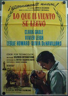 FOLLETO DE CINE: LO QUE EL VIENTO SE LLEVO CLARK GABLE VIVIEN LEIGH POSTER ORIGINAL 70X100 ESPAÑOL