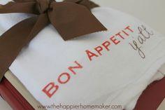 Stenciled Tea Towel Hostess Gift - The Happier Homemaker