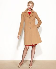 Anne Klein Coat Double-Breasted Cashmere-Blend Belted Walker