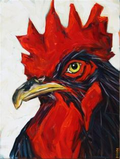 "Daily Paintworks - ""Bart"" - Original Fine Art for Sale - © Kandice Keith Rooster Painting, Rooster Art, Chicken Painting, Chicken Art, Sketch Painting, Painting Art, Mosaic Animals, Bird Artwork, Rock Painting Designs"