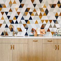 Triangle Wall, Triangle Pattern, Tile Projects, Handmade Tiles, Color Tile, Tile Patterns, Tile Design, Mosaic Tiles, Tiling