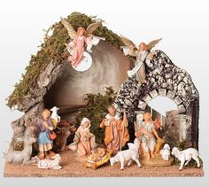 12 Piece Nativity Set with Italian Stable - Fontanini (Gifts for Christian Occasions / Christian Christmas Decor / Nativity Decor) Nativity Scene Sets, Christmas Nativity Scene, A Christmas Story, Christmas Tree, Ceramic Nativity Set, Fontanini Nativity, Christian Christmas, Grapevine Wreath, Christmas Decorations
