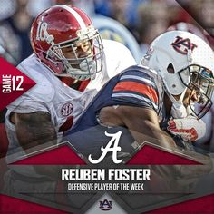 Reuben Foster named Defensive Player of the Week. #BAMAvsAUB #Alabama #RollTide #BuiltByBama #Bama #BamaNation #CrimsonTide #RTR #Tide #RammerJammer #ALAvsAUB #IronBowl