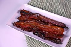 Sticky Sweet Bacon by Daphne Oz Combine your two favorite words into one delicious salty sweet snack: candied bacon! Use some of your favorite stuff REAL Maple Syrup, Brown Sugar, and BACON. The Chew Recipes, Bacon Recipes, Brunch Recipes, Appetizer Recipes, Breakfast Recipes, Cooking Recipes, Appetizers, Breakfast Ideas, Sunday Recipes