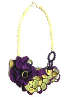 Mina Kang - 'mixture 15' necklace ramie fabric, thread, silver, beads 2013