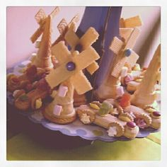 Ice Cream Cone Windmills (filled with Marshmallows and Smarties) and 'lady finger' racing cars