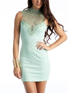 gorgeous lace collar open back dress. & the mint green color is amazing <3