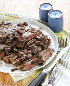 Pan-Seared Flank Steak with Red Wine Mushroom Sauce