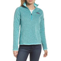 Women's Patagonia 'Better Sweater' Zip Pullover ($99) ❤ liked on Polyvore featuring tops, sweaters, bend blue, patagonia sweater, pullover top, zipper top, zip sweater and pullover sweater