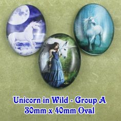 3x 30x40mm Glass Unicorn in Wild Oval Cabochon-A from Craft Findings by DaWanda.com