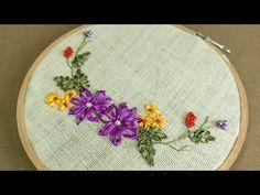 Ribbon Embroidery Design for beginners: DIY Flower Art - YouTube