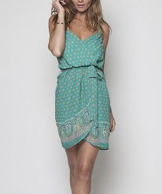 Take a look at this Green Braided Strap Wrap Dress by Rieley on #zulily today!