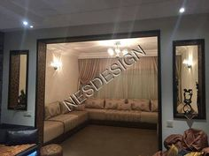 Salon marocain beige – Nesdesign Sofa Decor, Home Decor Furniture, Living Room Colors, Modern Tv Wall Units, Drawing Room Decor, Room Partition Designs, Salon Decor, Moroccan Living Room, Plafond Design