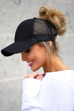 FINALLY a hat you can wear high ponytails or messy buns with ... 35f81f87a626
