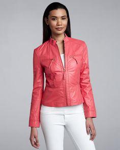 Leather Peplum Jacket by Neiman Marcus at Neiman Marcus.