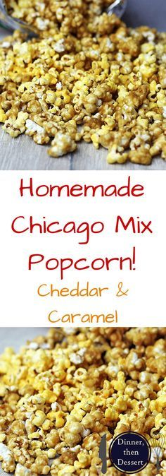 This mix of popcorns is a fantastic mix of flavors commonly referred to as Chicago Popcorn! You've seen it in popcorn stores and in pre-made bags, but now you can make it at home! Popcorn Snacks, Candy Popcorn, Flavored Popcorn, Gourmet Popcorn, Popcorn Recipes, Snack Recipes, Dessert Recipes, Toffee Popcorn, Pretzel Recipes