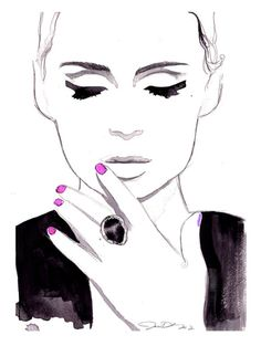 Midnight City, watercolor and pen fashion illustration by Jessica Durrant   http://my-top-world-fashion-models.blogspot.com