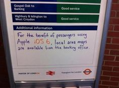If you've upgraded to iOS you're probably—quite literally—lost. But the staff at Hackney Wick underground station in London have found a solution: iOS 6 users might be best off reverting to a good ol' fashioned paper map. Ios, Handy Shop, Mayor Of London, East London, Apple Maps, Outing Quotes, British Humor, Area Map, Social Networks