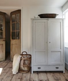 Wooden Armoire / Cabinet Wicker Basket Wooden French Doors Entryway Storage for Mudroom Modern Farmhouse Vintage Antique Furniture - March 09 2019 at Old French Doors, Vintage Armoire, Wide Plank Flooring, Plank Walls, Laminate Flooring, Home And Deco, Design Case, Interiores Design, Tall Cabinet Storage