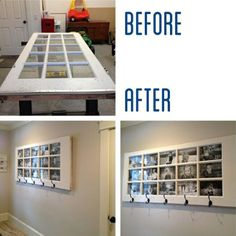 window turned into picture frame/coat rack