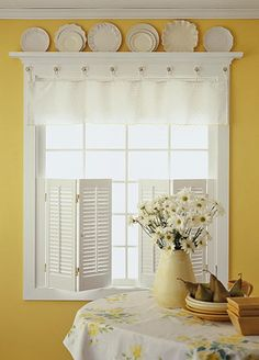 DIY Kitchen Window Treatments - lower shutters plus valance. Also plate shelf.