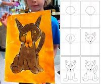 How to draw a dog...great for the Blue Dog project by George Rodrigue.