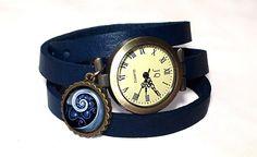 Blue Spiral Ladies Watch, Navy Leather Watch Bracelet,Ladies Gift