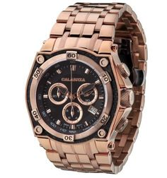 CALABRIA  MEZZANOTTE  Classic Rose Gold Chronograph Mens Watch with Carbon Fiber Bezel -- Find out more about the great product at the image link.
