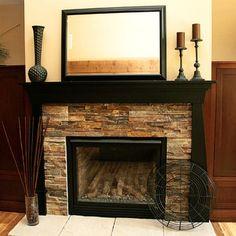 Fireplace Makeover…black mantel for sure!!