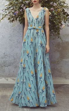 Embroidered Full Length Dress by LUISA BECCARIA