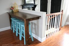 DINING ROOM - below the window, about half this size counter.  Love the pop of color with the stools.