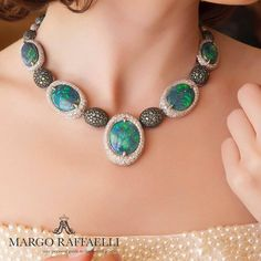 What I love the most in @faraonemennella_by_rfmas design is that it looks very Italian, quite laconic, yet gorgeous! In love with this Australian black opal, tourmaline and diamond necklace spotted during @by_couture Show in Vegas ❤️ Credit: www.margoraffaelli.com