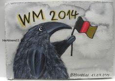WELTMEISTER 2014 von Herbivore11 Rabe Raben Bild WM Unikat Sieg Deutschlandfahne