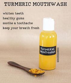 Homemade turmeric mouthwash for whiter teeth