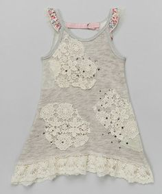 35d0beac4661 Hannah Banana Gray   Ivory Lace Patch French Terry Dress - Girls
