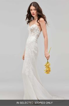Main Image - Willowby Haizea Strapless Lace & Crepe Gown