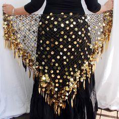 Artemis Imports - Belly Dance Crochet & Paillettes Shimmer Shawls Hip Wrap - Black/Gold $37 -  www.ArtemisImports.com