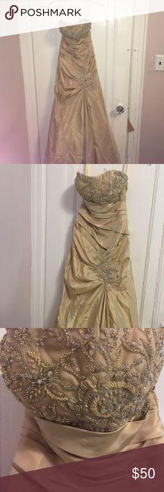 Beige prom dress Strapless and sparkly joli prom Dresses Prom