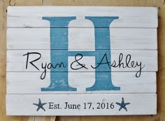 Welcome to Seaside Lane! Sign Features: This is a custom made last name sign. You can purchase this sign with your choice of colors and customization. Message us for details!  Large Est. Wedding Date sign Background: White Distressed Font: Blue & Black Dimensions: 25x21x2 Weight: 10lbs  -Each of these signs is custom made upon purchase so we can use your colors!.- (Exact signs in photos will not be sent)  -Upon check out let us know 1) The lettering color (names) 2) The Background Color 3)…