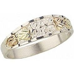 Mens Stylish Four Leaf Sterling Silver and 12k Leaves Black Hills Gold Ring