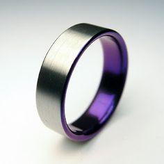 Purple and Satin Titanium Ring