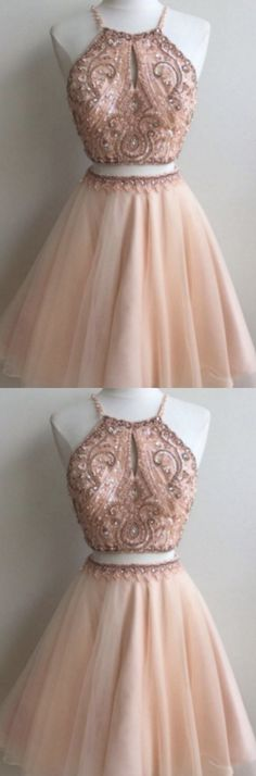 Cheap Short Dresses, Cheap 2018 Short Beading Backless Two Pieces Homecoming/Prom Dresses