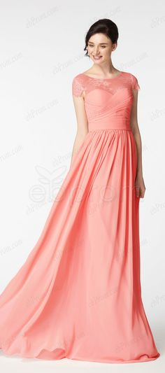 b96bd622d8f Modest coral beautiful bridesmaid dresses cap sleeves. ebProm