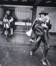 Keith Richards, Anita Pallenberg and their son Marlon at their Newcastle-upon-Tyne hotel, march 1971.