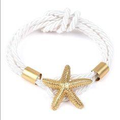 White & Gold Starfish Rope Bracelet