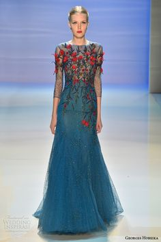 Georges Hobeika Fall Winter 2014-15. Beautiful blue dress. For more fashion inspiration visit www.thegirlinblue.com