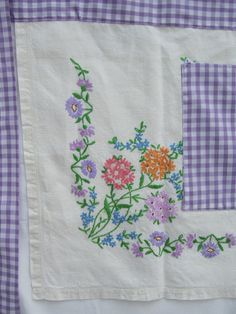 Apron made from recycled embroidered linen tablecloth & gingham.
